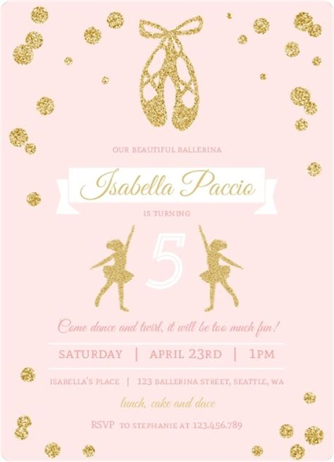 ballerina birthday card template pink and gold ballerina birthday invitation