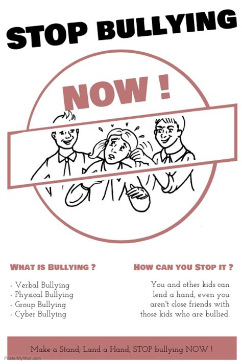 Stop Bullying Now Template Postermywall Anti Bullying Poster Templates