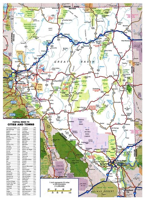 us map with cities and national parks large detailed roads and highways map of nevada state with