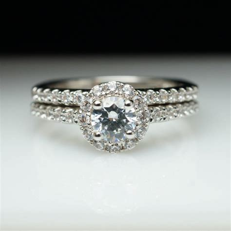 halo engagement ring wedding band complete