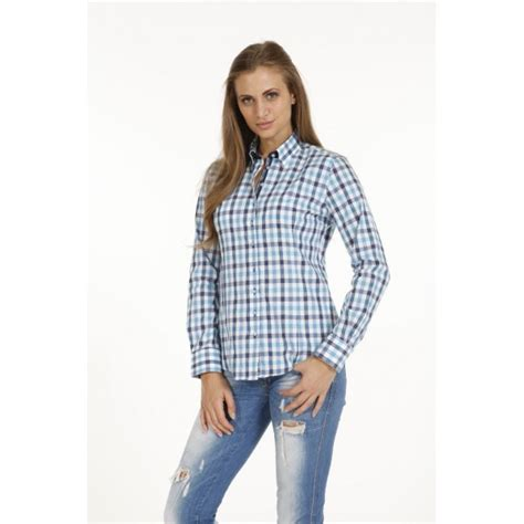 Blouse Blue Line blouse pontto pink line 9011 karo blue