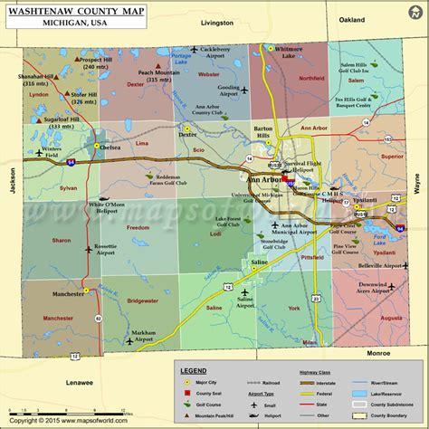 mi county map washtenaw county map michigan