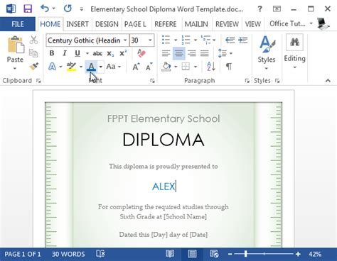 microsoft word default template free elementary school diploma template for word