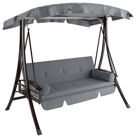 Grey Patio Swing Corliving Nantucket Daybed Patio Swing In Charcoal And