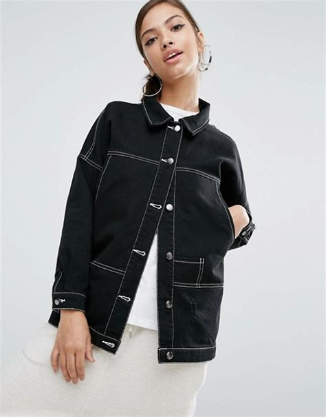 Contrast Stitching Button Jacket longline denim jacket with