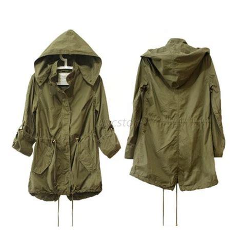 hoodie drawstring army green trench parka jacket coat jumper ebay