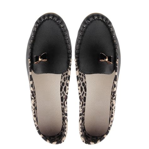 flat shoes for on sale fashion leather leopard casual slip on dolly ballet