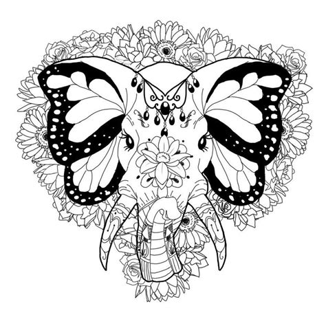 tribal elephant coloring pages  adults google search