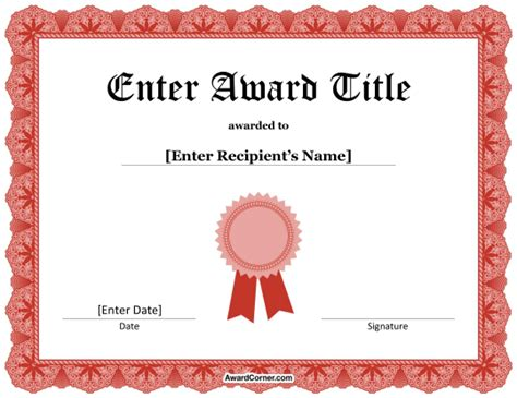 certificate design red red ribbon certificate template for microsoft word