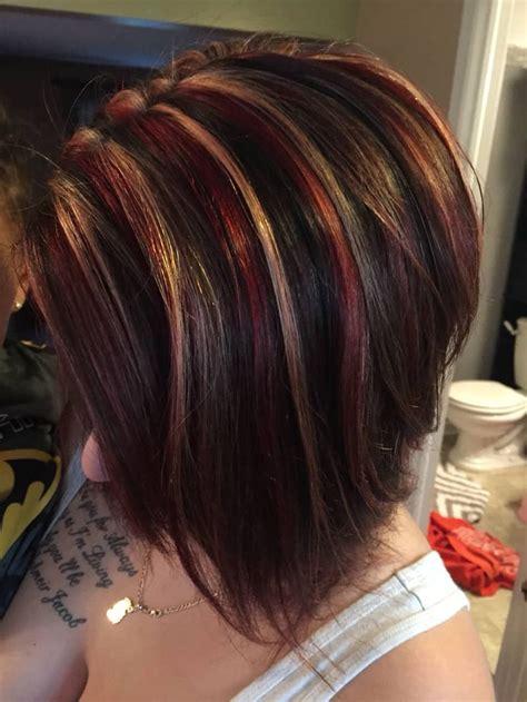 short haircuts  brown hair  highlights  red