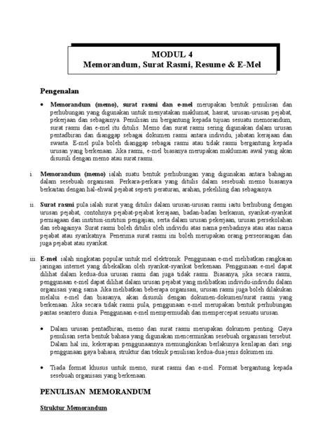 Format Memo Jabatan Kerajaan Mdl 4 Memo Surat Pelajar