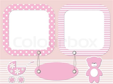 baby gestell pink baby photo frames stock vector colourbox