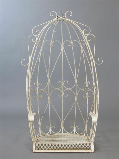 wrought iron swing chair vtg white wrought iron canopy egg outdoor garden porch