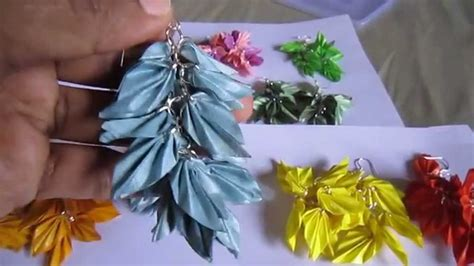 Paper Earrings Tutorial - handmade jewelry origami paper leaves earrings not