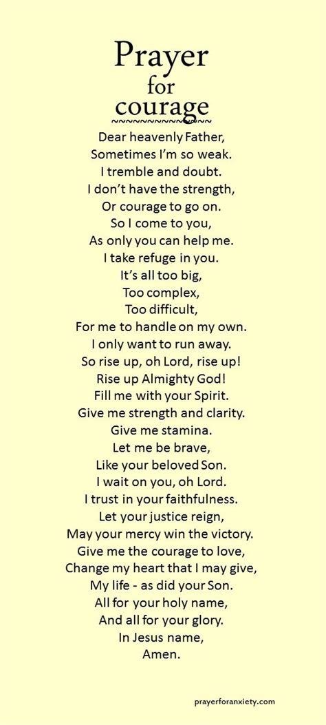 Prayer For Strength And Courage Quotes prayer for courage prayer for anxiety