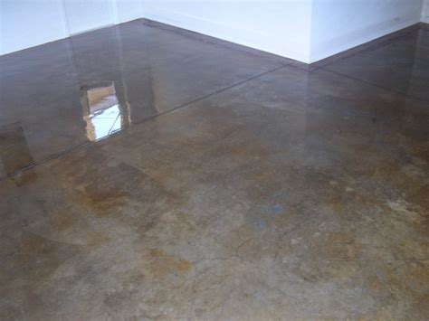 acid stained concrete floors countertops model home