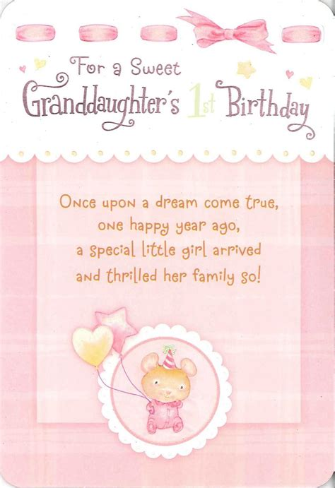 1st Birthday Cards For Granddaughter For A Sweet Granddaughter S First Birthday Card Greeting
