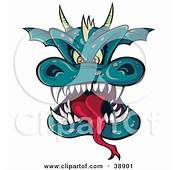 Horned Green Dragon Head With A Long Tongue And Sharp