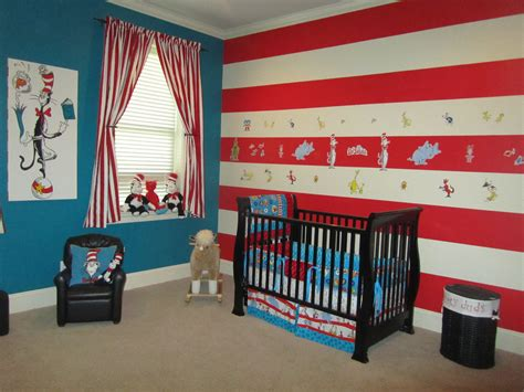 dr seuss themed bedroom just the blue wall for two to three walls and then the stripes as an accent wall