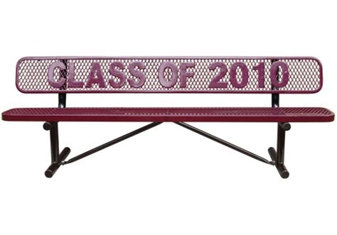 personalized park benches 4 custom expanded metal logo bench commercial site furnishings