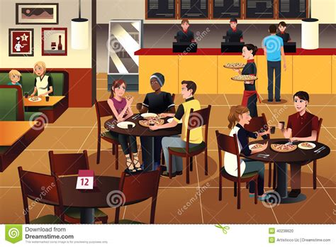 Kitchen Design Plans by Young People Eating Pizza Together In A Restaurant Stock