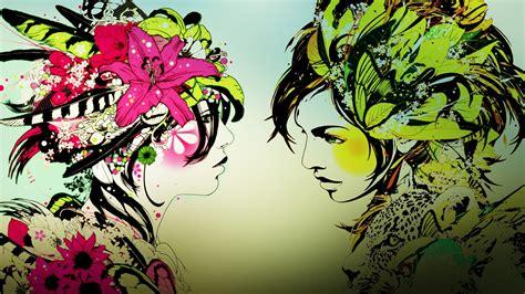 wallpaper printing women mirrors calm asians dj okawari dj okiwari