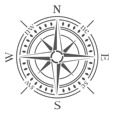 compass template printable compass bearing stencil x large size for diy walls