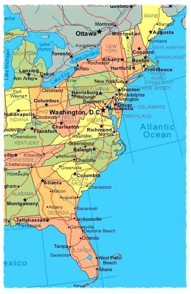 united states map of east coast united states east coast map image websbages