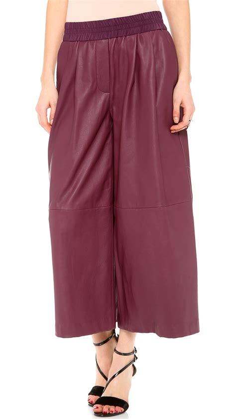 Wide Leg Cullote 2 thakoon addition leather wide leg culotte in purple lyst