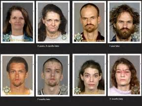 Mugshots showing the effects of methamphetamine drug addiction in the