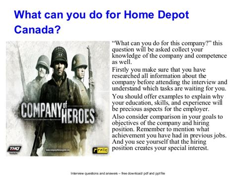 home depot canada questions and answers
