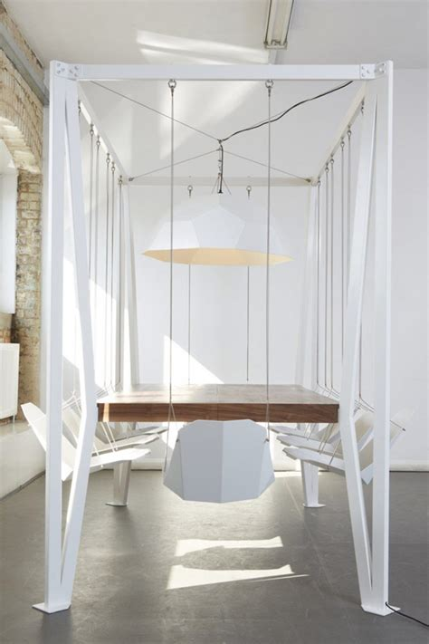 high chair hangs on table swing table a table with 8 suspended chairs