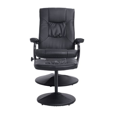 homcom pvc leather recliner and ottoman set cream recliner chair foot rest black at aosom ca