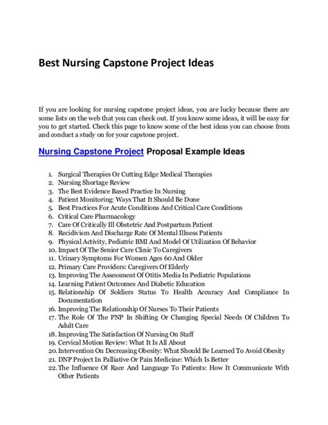 learn of the best nursing capstone project ideas