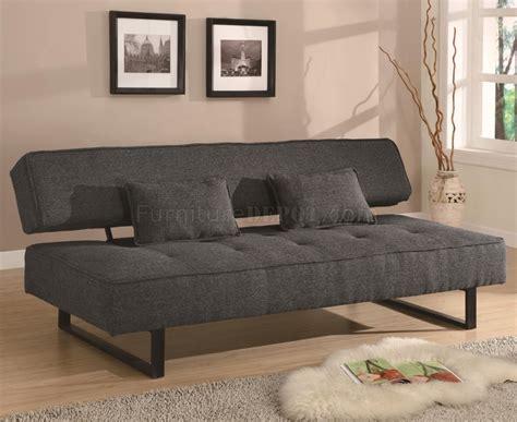 modern futon grey fabric modern convertible sofa bed w metal legs