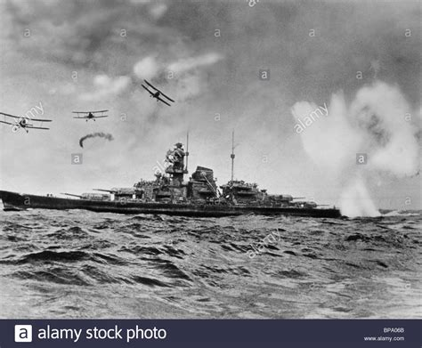 sink the bismarck planes attack warship sink the bismarck 1960 stock photo