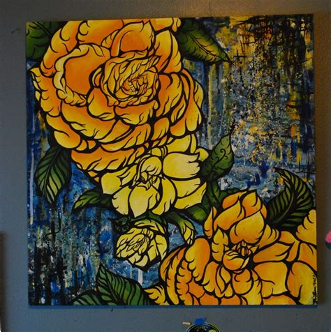abstract floral oil painting 2 feet by 2 feet yellow roses