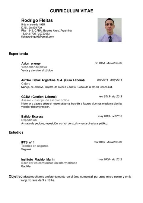 Modelo Curriculum Vitae Argentina 2017 Cv Rodrigo Fleitas
