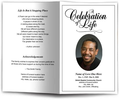 Classic Funeral Program Template Memorial Service Bulletin Funeral Throughout Funeral Program Funeral Memorial Template