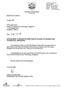 Appointment Letter Of Director Professor Kristin L Wood Appointment To Board Of Directors Of Sst By Moe Engineering Product