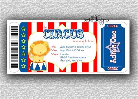 printable tear off tickets circus birthday invitation boarding pass invitation