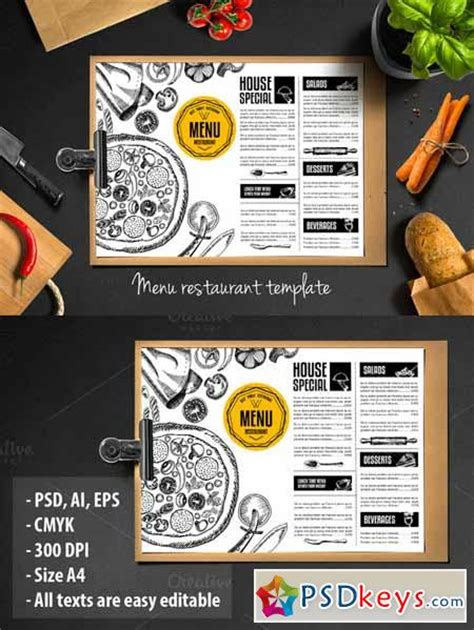 photoshop restaurant menu template food menu restaurant flyer 288236 187 free