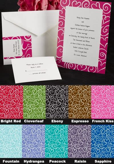 Paper Duvet Wedding Invitations by Paper Duvet Radiant Layered Ensemble With Hearts Swirls