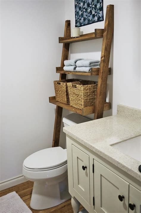Bathroom Toilet Shelves White The Toilet Storage Leaning Bathroom Ladder Diy Projects