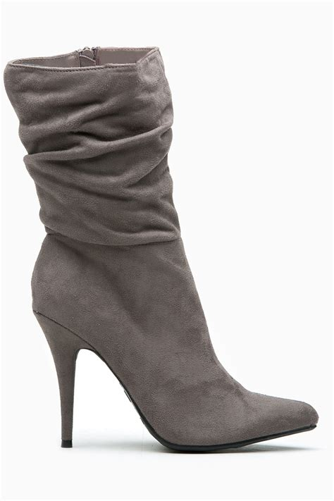 grey faux suede pointed toe slouch booties cicihot boots