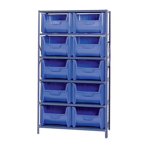 quantum storage metal shelving unit with 10 giant hopper
