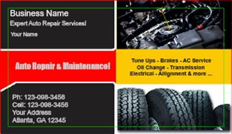 auto repair business card template auto repair business card templates designsnprint