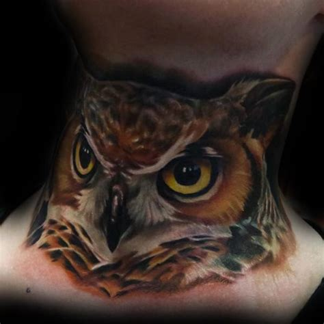 front neck tattoos designs 30 owl neck designs for bird ink ideas