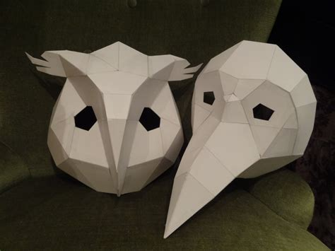 cardboard mask template printable masks make your own owl mask bird mask instant