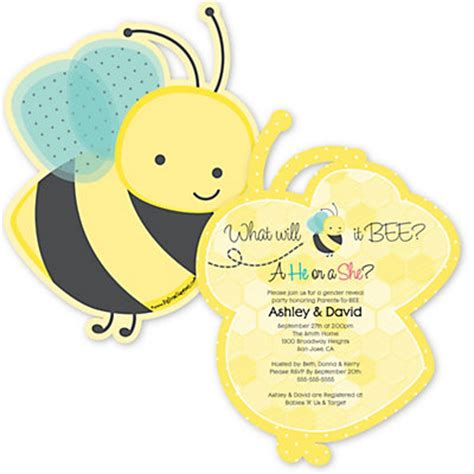 Bee Baby Shower Invitations by What Will It Bee Gender Reveal Shaped Baby Shower